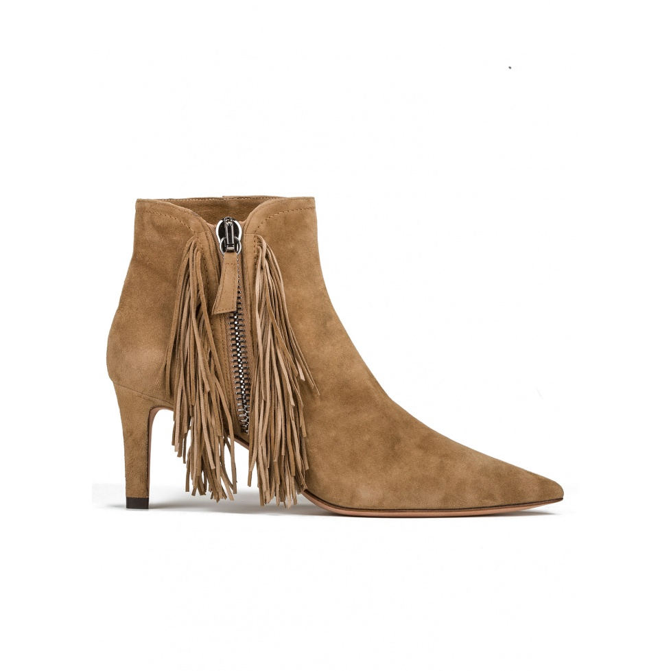 Fringed mid heel ankle boots in camel suede