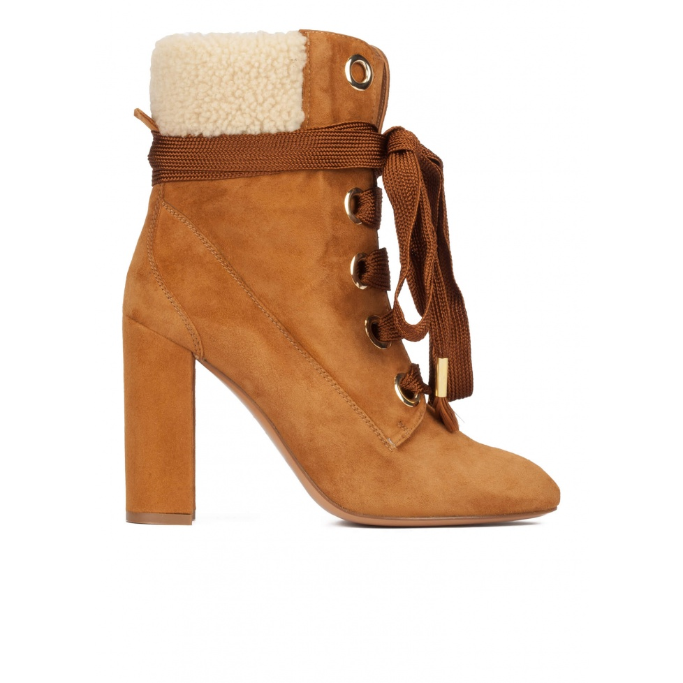 Camel suede lace-up high block heel ankle boots