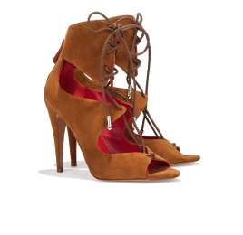 Lace-up high heel sandals in chestnut suede Pura López