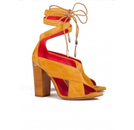Lace up block high heel sandals in tobacco suede Pura López