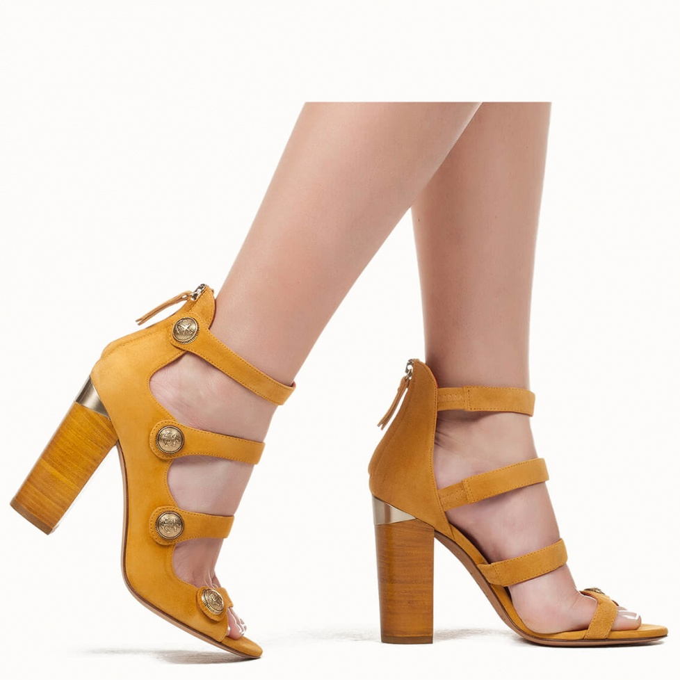 Chunky heel sandals in tobacco suede - online shoe store Pura Lopez