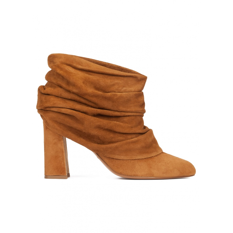 Camel suede slouchy high block heel ankle boots