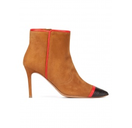 Camel suede high heel point-toe ankle boots with black leather toe Pura López