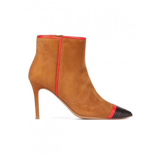 Camel suede high heel point-toe ankle boots with black leather toe Pura L�pez