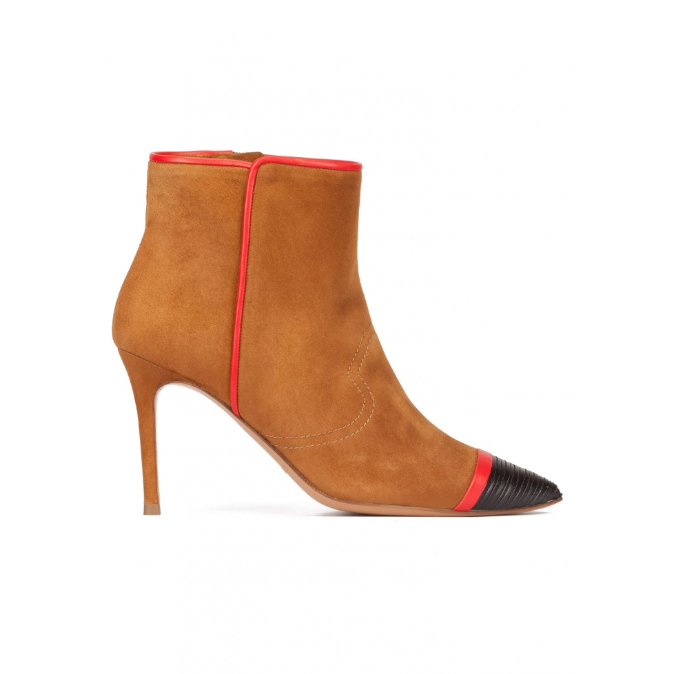 Camel suede high heel point-toe ankle boots with black leather toe