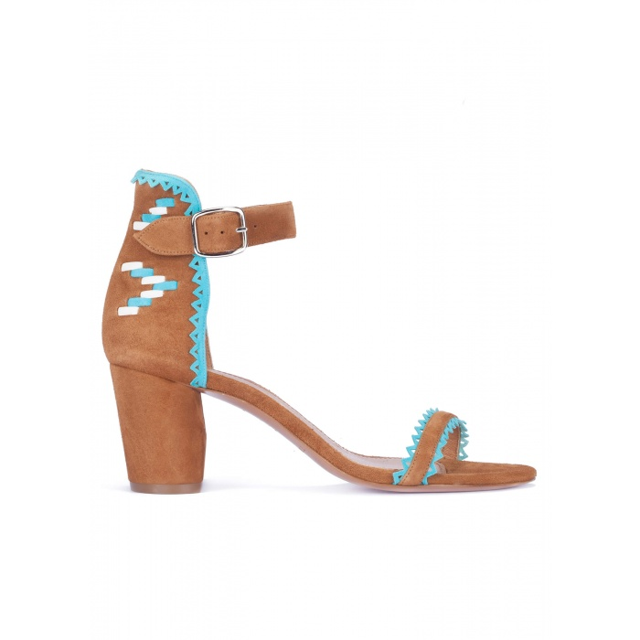 Chestnut mid heel sandals with tribal detail at back