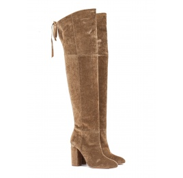 Over-the-knee high block heel boots in golden velvet Pura López