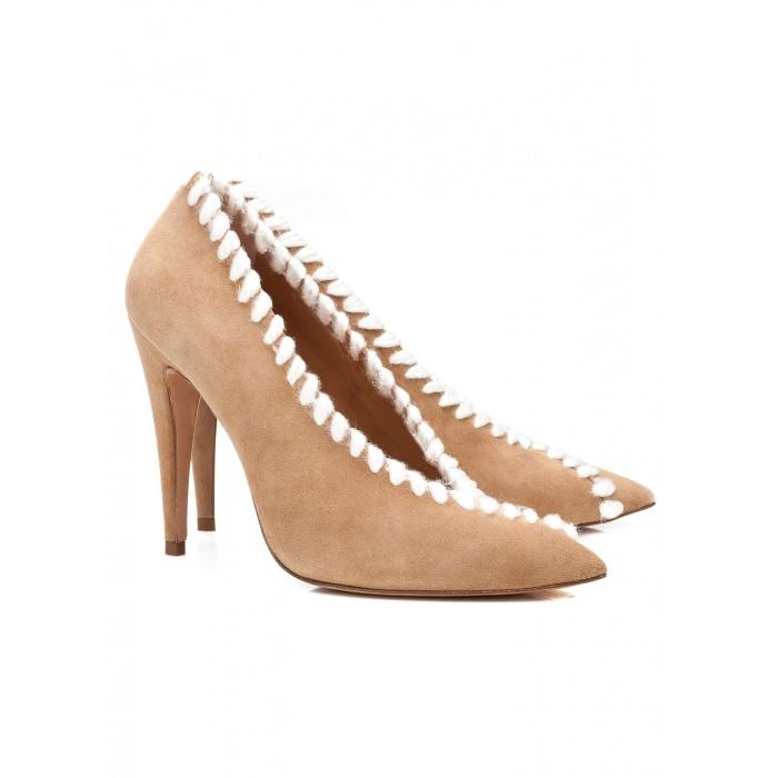 Camel V-cut high heel pumps - online shoe store Pura Lopez