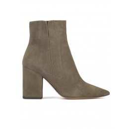 Khaki green suede high block heel pointy toe ankle boots Pura López