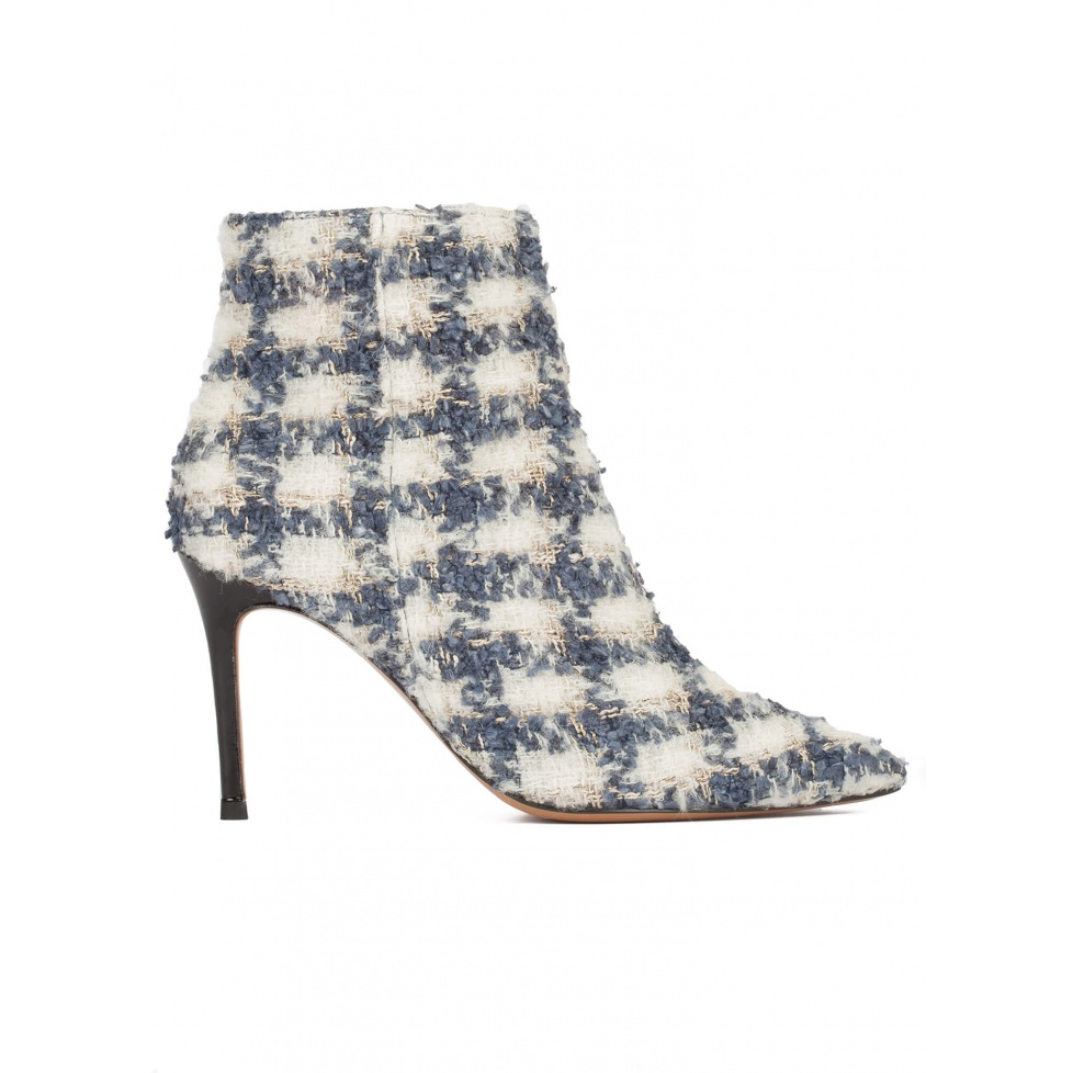 High heel pointy toe ankle boots in checked fabric