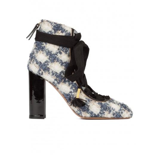 Zapatos en tejido de cuadros con tacón en bloque y cierre de cordón Pura L�pez