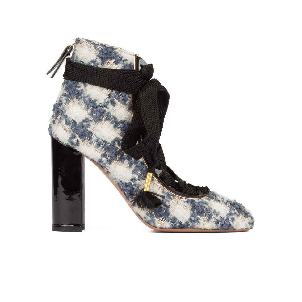 Checked fabric lace-up high block heel shoes