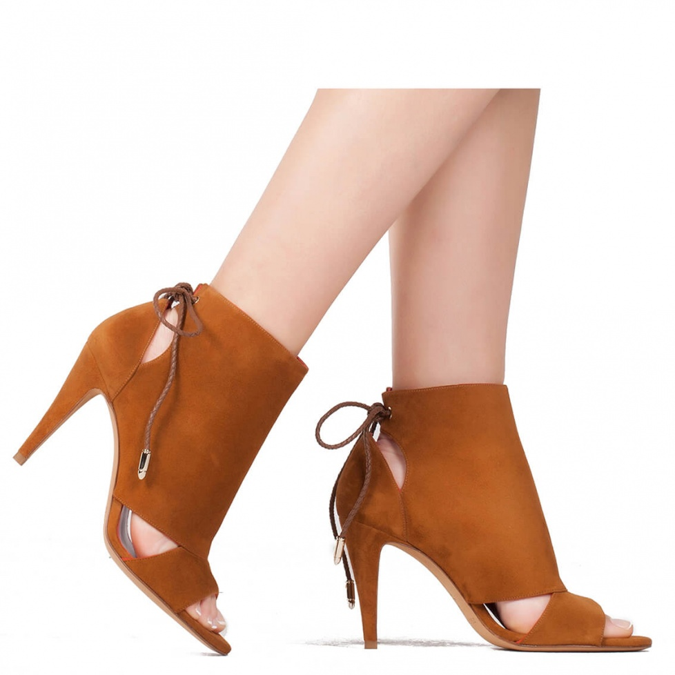 High heel sandals in chestnut suede - online shoe store Pura Lopez