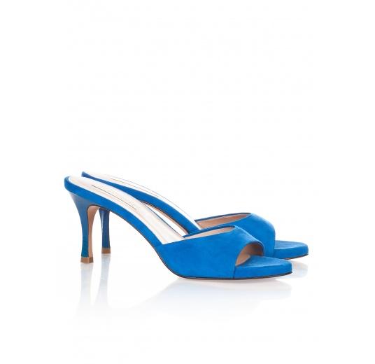 Mid heel mules in royal blue suede Pura L�pez