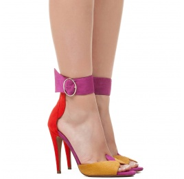 Ankle strap high heel sandals in multicolored suede with leaf detailed heel Pura López
