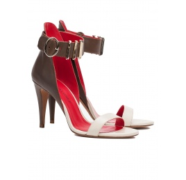 Two-tone ankle strap high heel sandals in leather Pura López