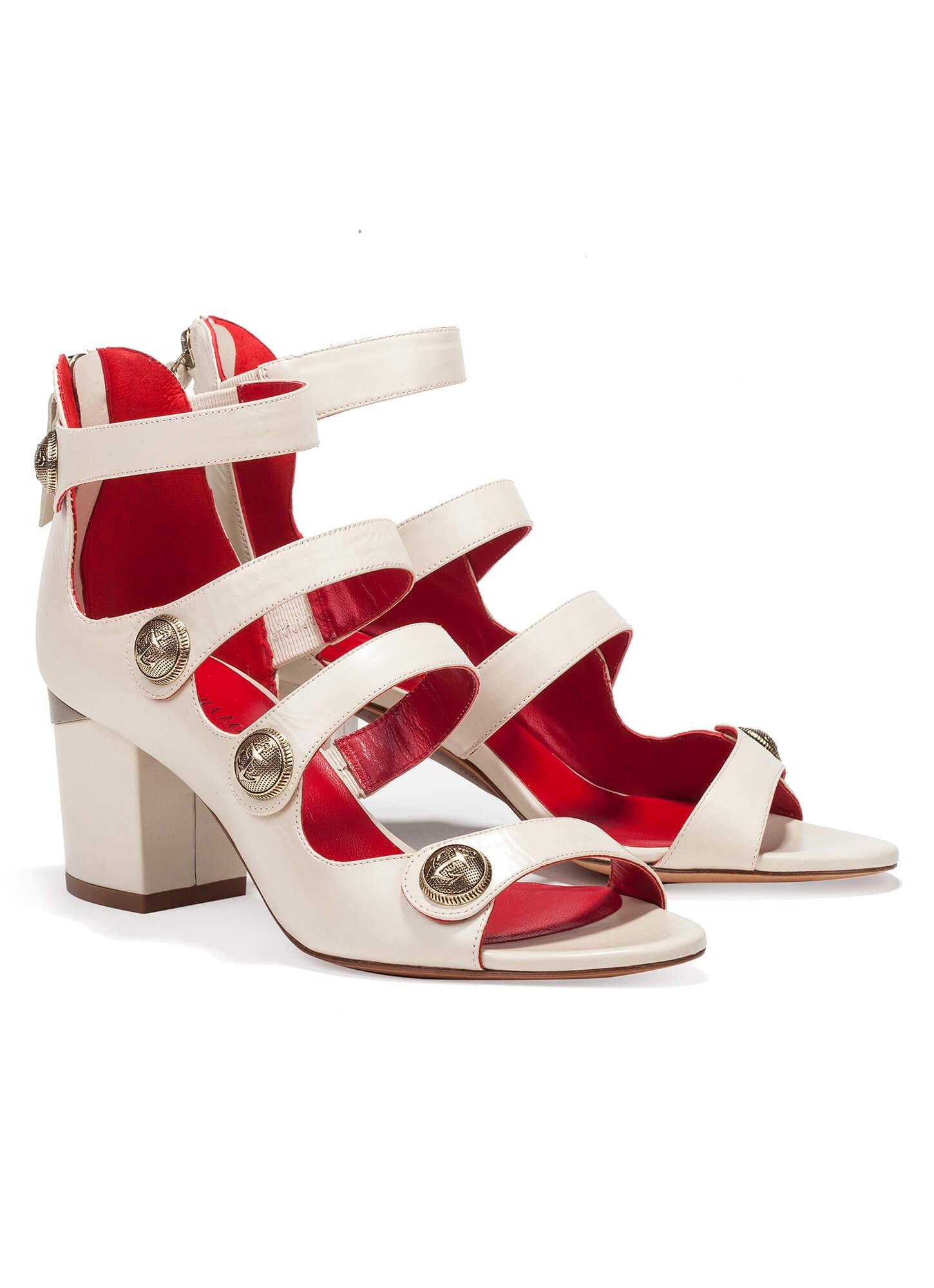 6509ff635548 Mid heel sandals with metal buttons - online shoe store Pura Lopez · Kimber Pura  López