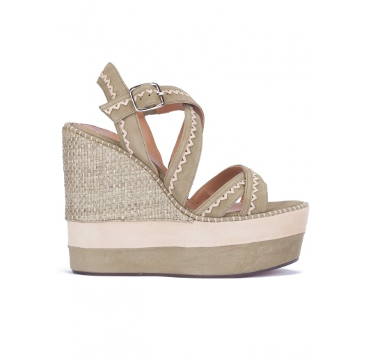 Kaki suede high wedge sandals Pura L�pez