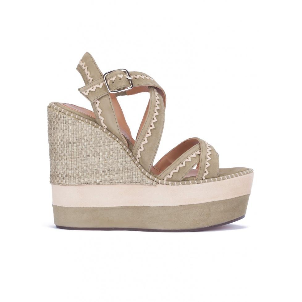 Kaki suede high wedge sandals