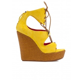 Lace-up wedge sandals in yellow suede Pura López