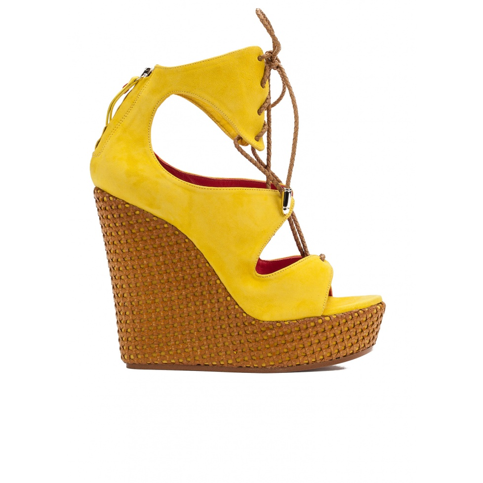 Lace-up wedge sandals in yellow suede
