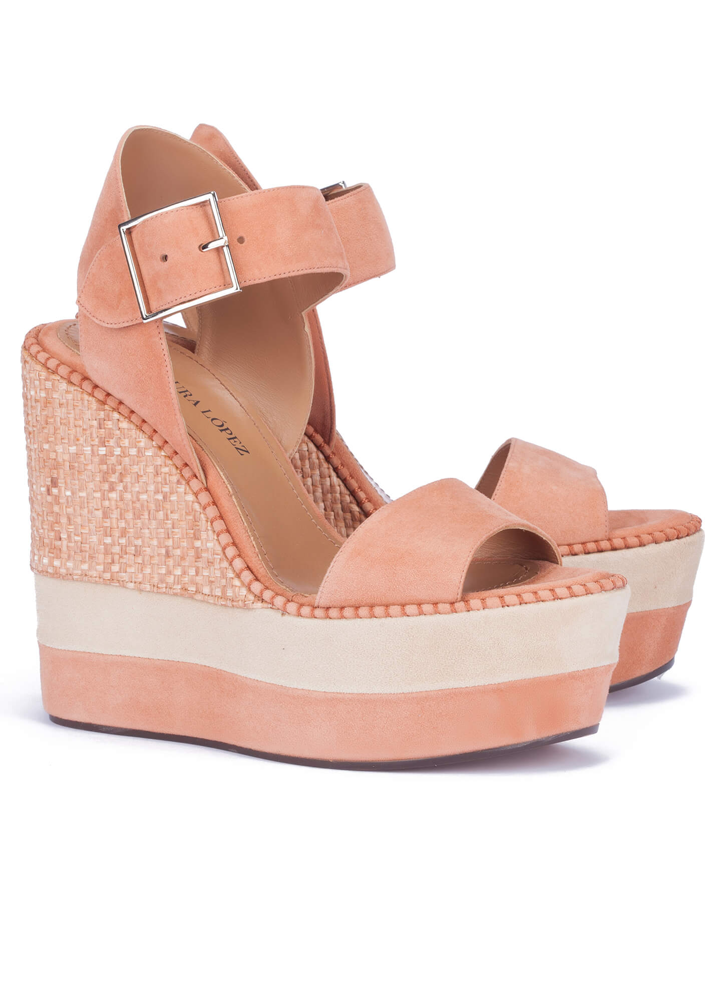 b88c2d08b308 High wedge sandals in old rose suede - online shoe store Pura Lopez ...