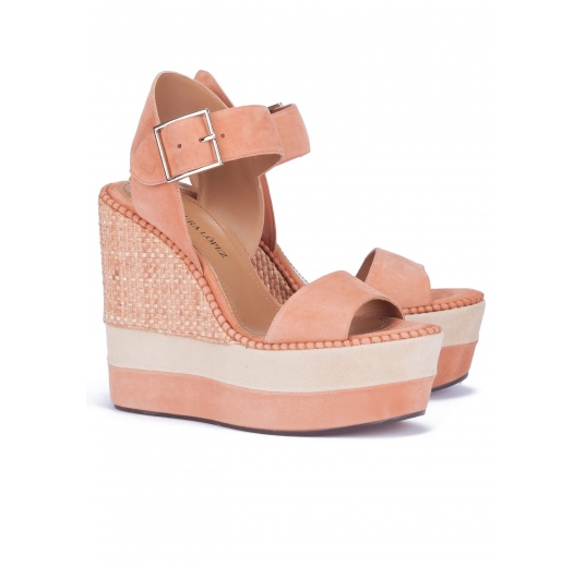High wedge sandals in old rose suede Pura L�pez