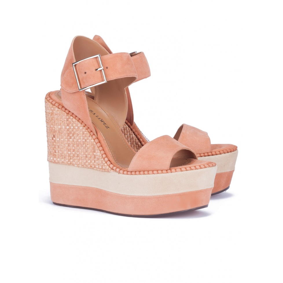 High wedge sandals in old rose suede - online shoe store Pura Lopez