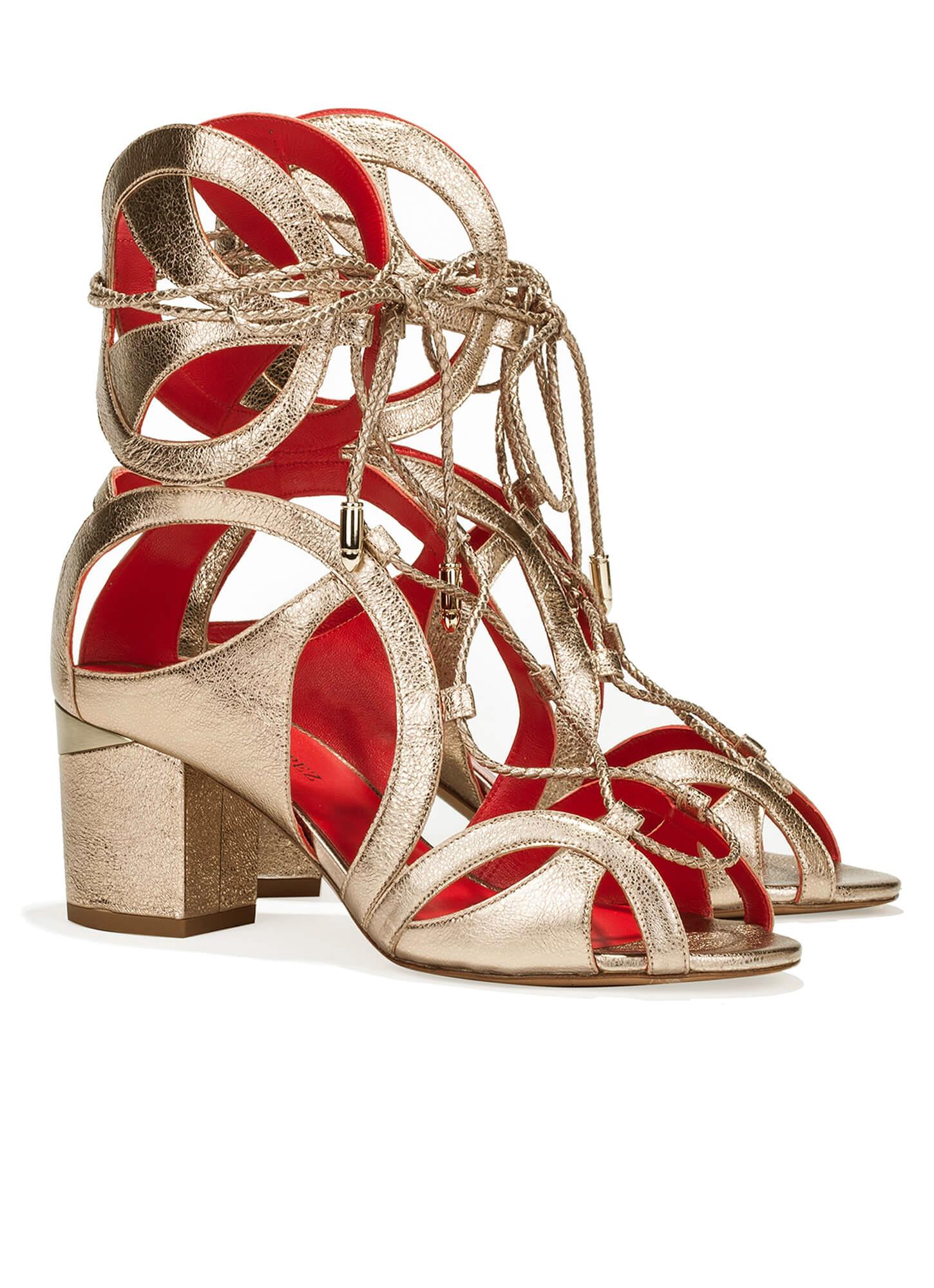 321b16c5f0fb Lace-up mid block heel sandals in champagne metallic leather Cutout sandals  in metallic leather - shoe store Pura López Keoma Pura López ...