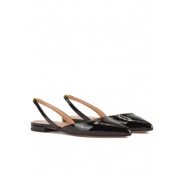 Slingback point-toe flat shoes in black patent leather Pura López