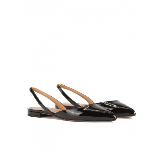 Slingback point-toe flat shoes in black patent leather Pura L�pez