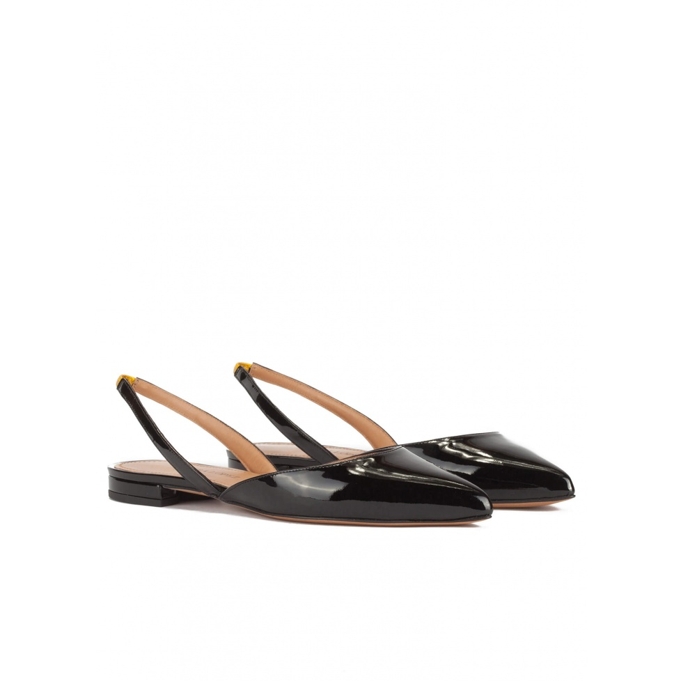 Slingback point-toe flat shoes in black patent leather