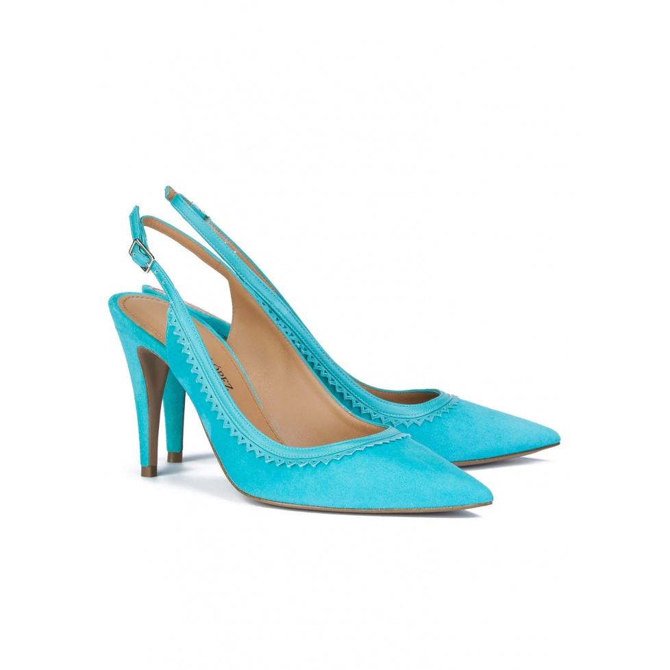 Slingback pumps in turquoise suede - online shoe store Pura Lopez