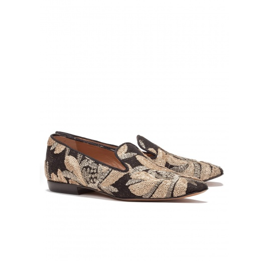 Flat loafers in gold embroidedered sequined tulle Pura López