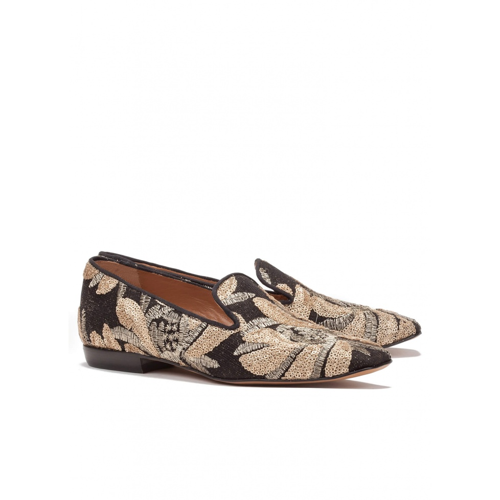 Embroidered flat loafers - online shoe store Pura Lopez