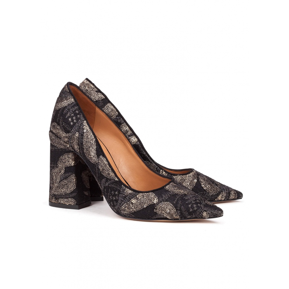 Embroidered high block heel pumps - online shoe store Pura Lopez