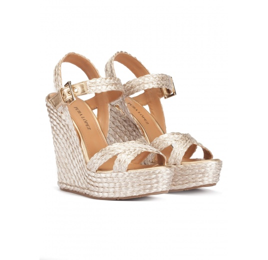 High wedge sandals in platin satin raffia Pura L�pez
