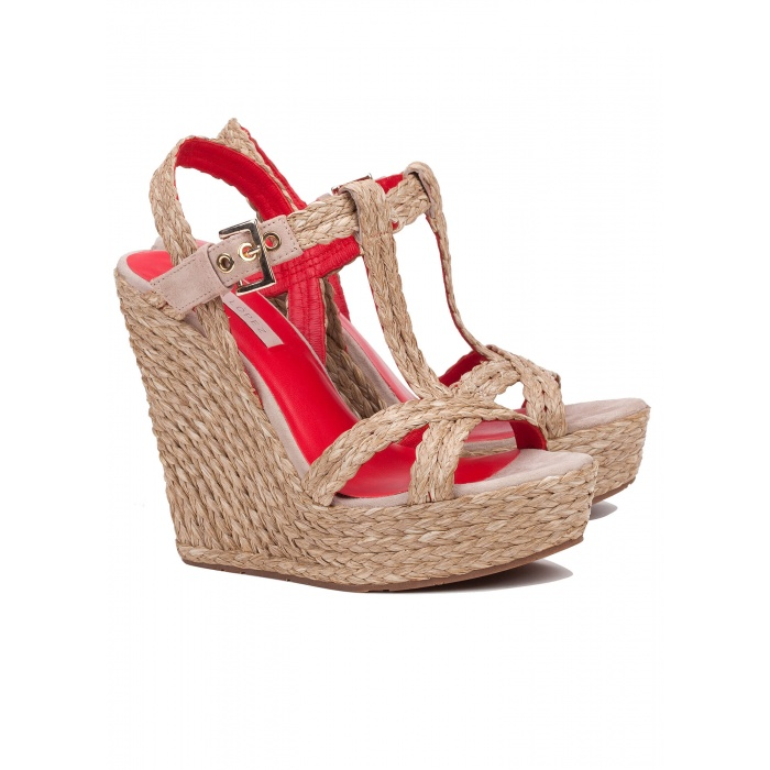 Pura Lopez wedge sandals in taupe raffia