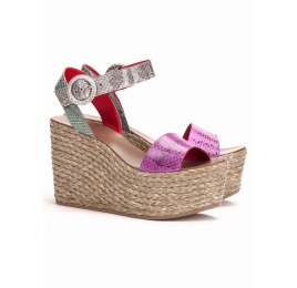 Wedge sandals in multicolored snake leather Pura López