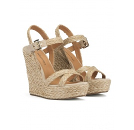 Ankle strap wedge sandals in taupe raffia and suede Pura López