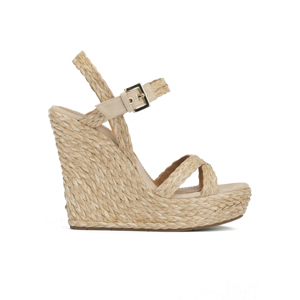 Ankle strap wedge sandals in taupe raffia and suede