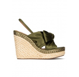 High wedge sandals in khaki green satin Pura López
