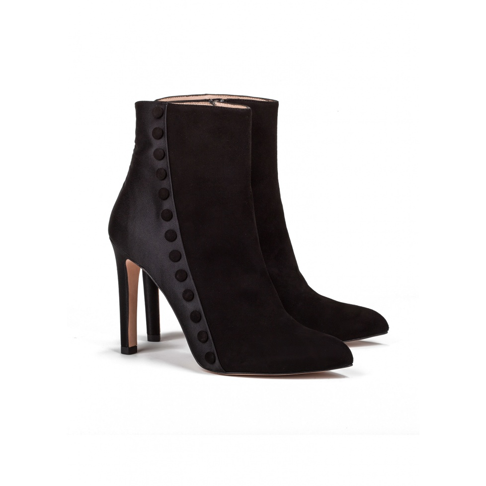 High heel ankle boots in black suede - online shoe store Pura Lopez