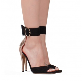 Ankle strap high heel sandals in black suede and champagne leather Pura López