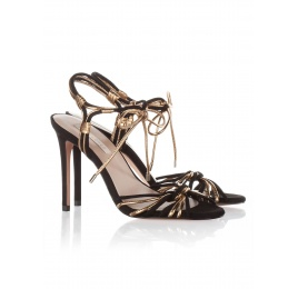 High heel sandals in black suede and gold leather Pura López
