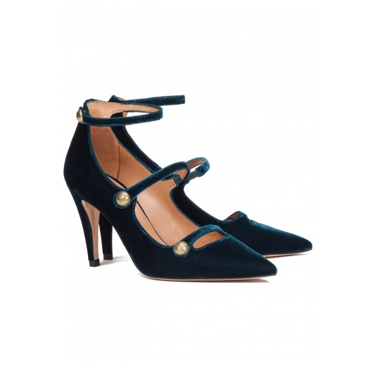 Strappy high heel shoes in petrol blue velvet Pura López