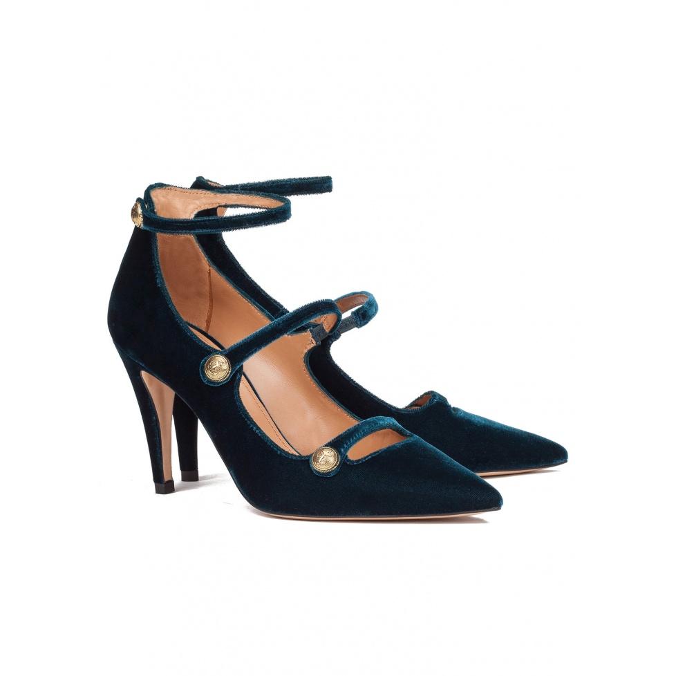 Zapatos de tacón en terciopelo azul - tienda de zapatos Pura López