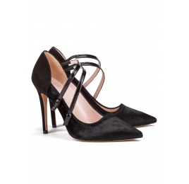 High heel shoes in black suede and calf hair Pura López