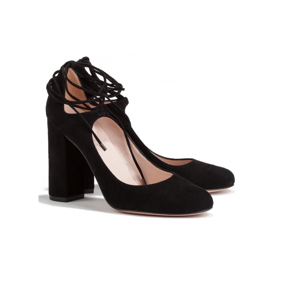 Zapatos de tacón alto en ante negro -tienda de zapatos Pura López
