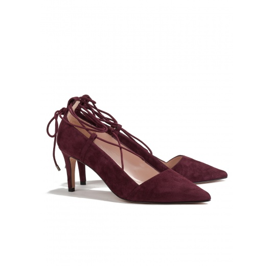 Lace up mid heel pumps in burgundy suede Pura L�pez